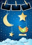 与摇摆、月亮、鸟和相框的不可思议的夜 库存例证