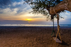 与摇摆和树的日落海滩 免版税库存照片
