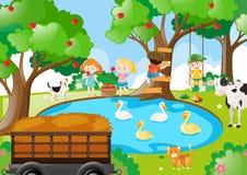 与摘苹果的孩子的农厂场面 向量例证