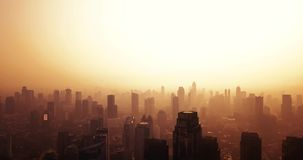 与摩天大楼剪影的雅加达地平线  股票视频