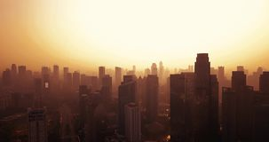 与摩天大楼剪影的雅加达都市风景  股票录像