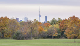 与摩天大楼和灰色天空的多伦多都市风景在背景 图库摄影