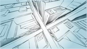 与摩天大楼的剪影市中心灰色白色 免版税库存照片