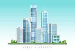 与摩天大楼的城市街市风景 也corel凹道例证向量 库存照片
