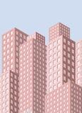 与摩天大楼的城市视图 向量例证