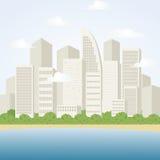 与摩天大楼的城市风景 海边镇场面 也corel凹道例证向量 免版税库存图片
