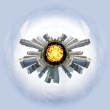 与摩天大楼的微小的行星 免版税库存图片