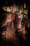 与摩天大楼的未来派夜都市风景 香港 免版税库存图片