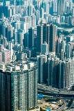 与摩天大楼的未来派都市风景 香港 免版税库存照片