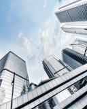 与摩天大楼的未来派都市风景 香港 图库摄影