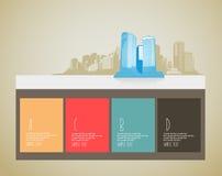 与摩天大楼的网站模板 免版税库存图片