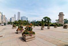 与摩天大楼的芝加哥街市地平线,伊利诺伊,美国 图库摄影