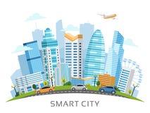 与摩天大楼的都市聪明的城市曲拱风景 免版税库存照片
