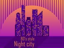与摩天大楼的都市风景仿照20世纪80年代样式 减速火箭的未来主义 城市日落 光在窗口里 向量 皇族释放例证