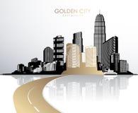与摩天大楼的金黄都市风景 免版税库存照片