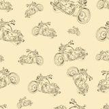 与摩托车的无缝的纹理 库存照片