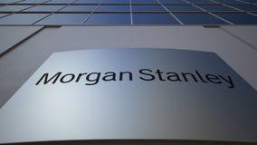 与摩根士丹利公司的室外标志板 徽标 编译的现代办公室 社论3D翻译 股票录像