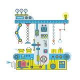 与操作器的传动机机器人系统 Technlology过程传染媒介平的概念 库存例证