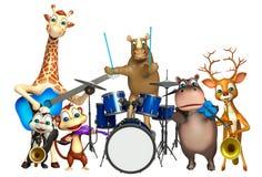 与支柱的犀牛、长颈鹿,河马,亲爱,臭鼬和猴子收藏 免版税库存照片