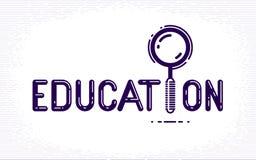与放大镜的教育词而不是信件I,研究和学习概念、传染媒介概念性创造性的商标或者海报 皇族释放例证