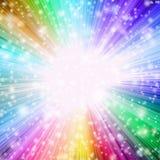 与放热五颜六色的光的明亮的聚光灯 库存例证