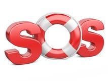 与救生带的SOS标志 免版税库存图片