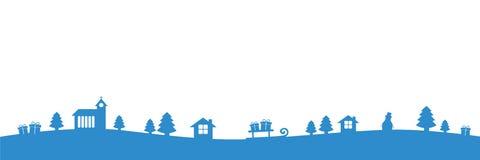 与教会冷杉房子的圣诞节蓝色边界和礼物环境美化 向量例证