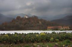 与教堂的图片在Kerkini湖和园艺附近 库存照片