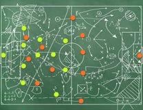 与教练设置的标号的橄榄球场 免版税库存照片