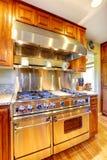 与敞篷的发光的现代火炉在豪华厨房室 库存图片