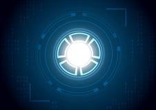 与数字和焦点的技术圈子 免版税库存图片