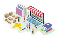 与数字图书馆书的等量3d网上书店概念在有队人的膝上型计算机买与发货纸板- 向量例证
