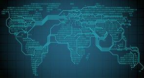 与数字式二进制大陆、城市和连接的抽象世界地图以电路板的形式 向量例证