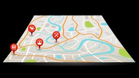 与数字式卫星gps的城市地图动画别住点标志有五颜六色的徽章的标志地点并且标记在黑孤立的标记 皇族释放例证
