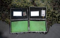 与数字接收机控制的数字显示LCD显示器在har 免版税库存图片