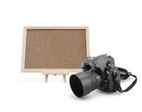与数字照相机的黄柏板 图库摄影