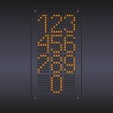 与数字的五颜六色的黄色LED盘区 免版税库存图片