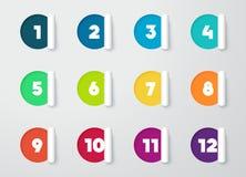 与数字的圈子纸被删去的笔记日历的1到12 免版税库存照片