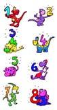与数字的恐龙 免版税库存图片