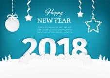与数字的新年快乐2018纸艺术设计在小山 圣诞树、星和圣诞节球与弓 皇族释放例证