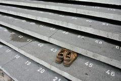 与数字的楼梯步在古晋镇清真寺 免版税库存图片