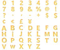 与数字的黄色字母表,标点和标志,货币标记从与软的阴影的纸雕刻了 3D Origami 向量例证