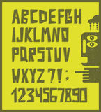 与数字的滑稽的字母表信件在减速火箭的样式 库存照片