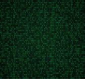 与数字的绿色矩阵背景 加密和输入的计算机编码 库存例证