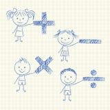 与数学符号的孩子 皇族释放例证