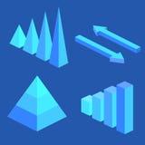 与数据象和设计元素的等量平的3D infographic元素 圆形统计图表、层数图表和金字塔用图解法表示 免版税库存图片