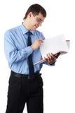 与文件的新生意人 库存图片