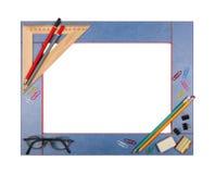 与文具的蓝色艺术学校框架 查出 免版税图库摄影