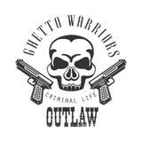 与文本、手枪和短桨的罪犯违法的街道俱乐部黑白标志设计模板 免版税库存图片