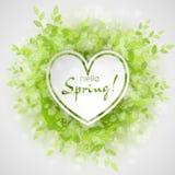 与文本你好春天的白色心脏框架 免版税库存照片